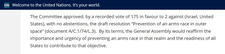 UN prevention arms race outer space vote 2019