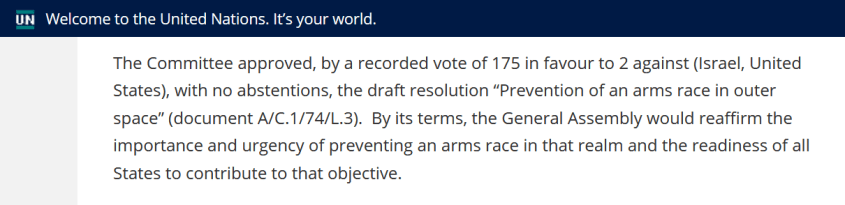 UN prevention arms race outer space vote 2019