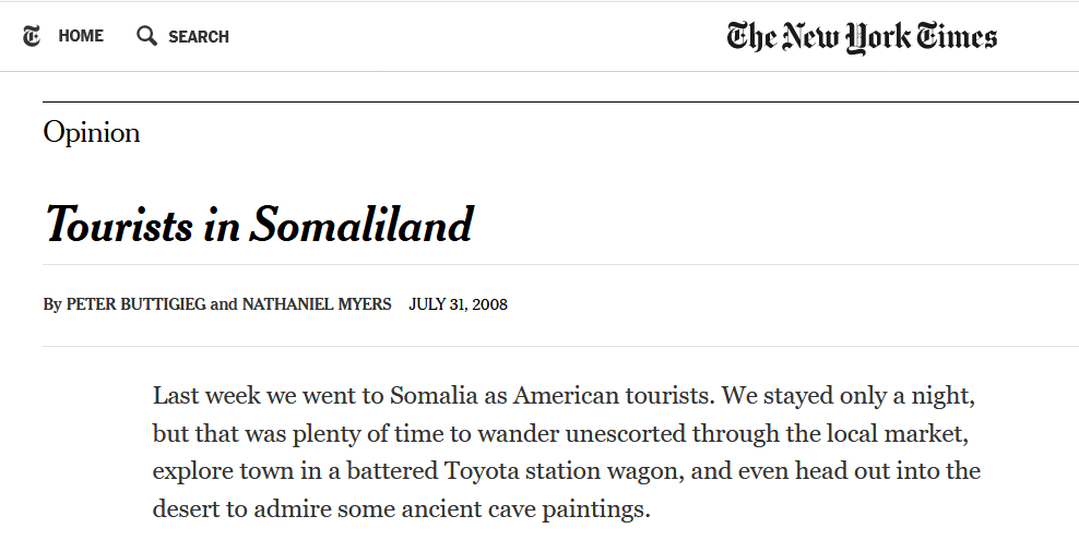 Pete Buttigieg New York Times Somaliland