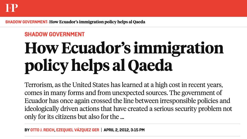 Foreign Policy Otto Reich Ezequiel Vazquez Ger Ecuador immigration