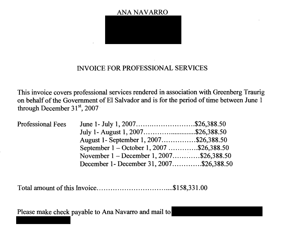 Ana Navarro invoice El Salvador lobbying 2007