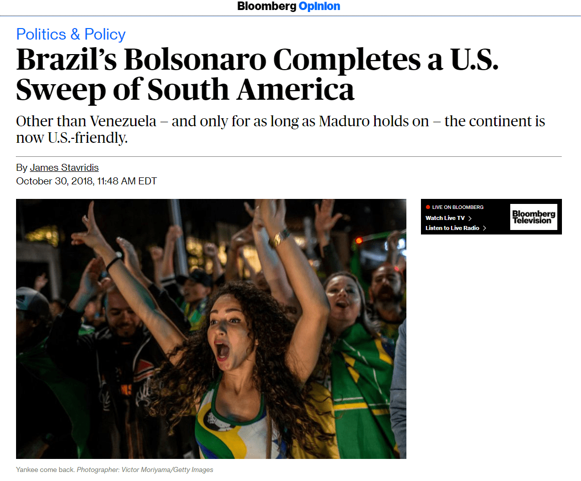 Bloomberg Brazil Bolsonaro US sweep South America