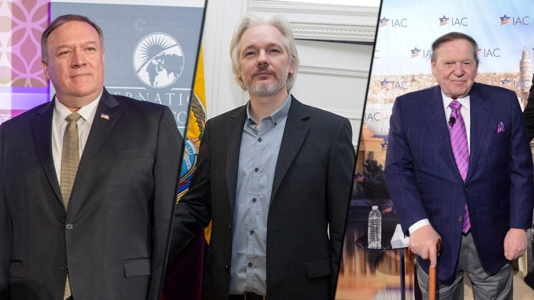 Julian Assange Sheldon Adelson Mike Pompeo