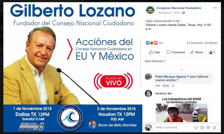 Gilberto Lozano Congreso Nacional Ciudadano Texas