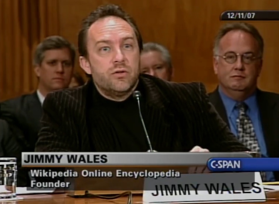 Wikipedia Jimmy Wales Senate Homeland Security committee