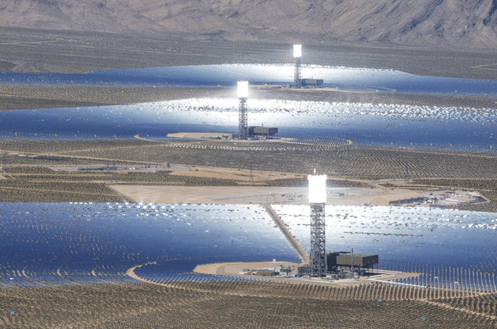 The Ivanpah solar thermal plant and its three power towers spans across the Mojave Desert