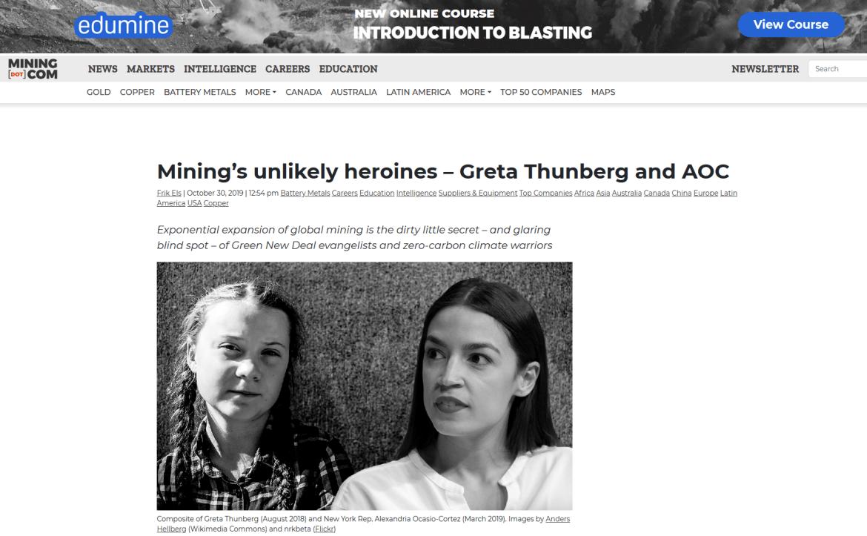 Mining com Greta Thunberg AOC