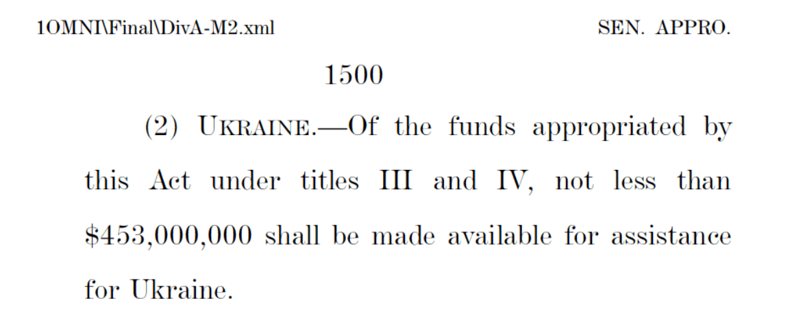 US Covid relief bill Ukraine