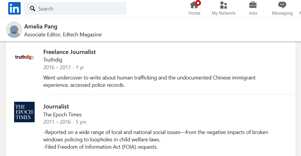 Amelia Pang Epoch Times China LinkedIn