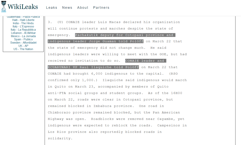 WikiLeaks Ecuador CONAIE Pachakutik US embassy