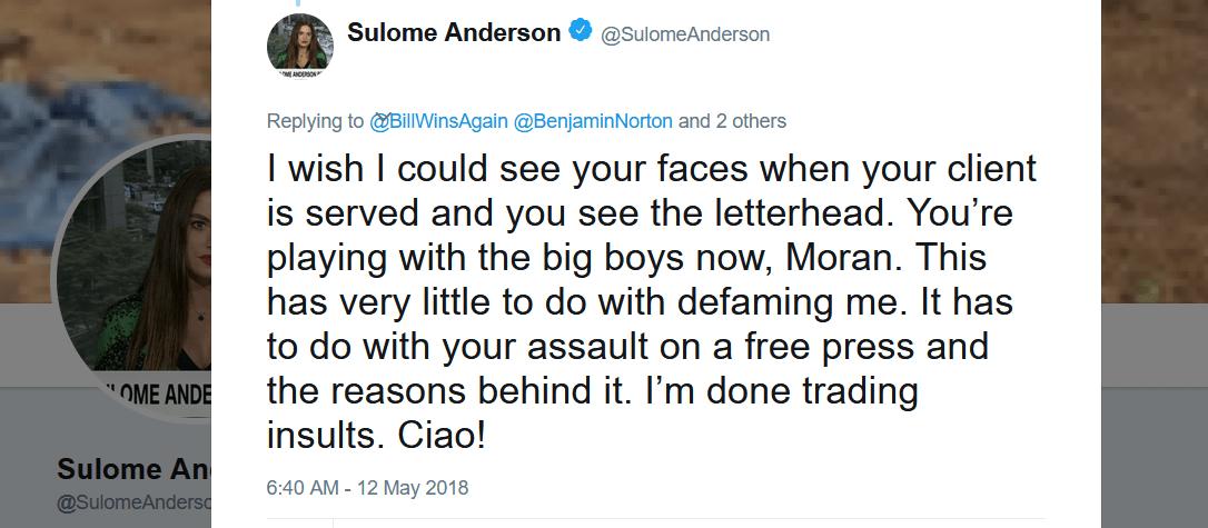 Sulome Anderson tweet defamation Blumenthal Norton