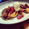 pikelets with pear, apple, vanilla & spice compote, cinnamon ice cream & almond praline