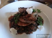 Grilled Par Boned Quail, Braised Organic French Style Lentils, Istra Chorizo, Cauliflower Fitter, Holy Goat Fromage Frais, Chervil