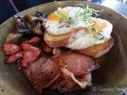 Fried Eggs with Chorizo, Ham and Mushrooms