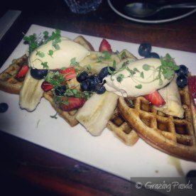 Orange Blossom Spelt Waffles with Strawberries, Blueberries, Banana, Ricotta and Maple Syrup