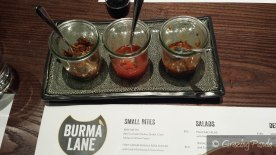Different Sauces at Burma Lane