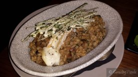 Warmed Barley and Mushroom Risotto with Enoki and Melted Taleggio