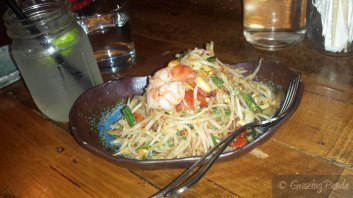 Som Dtam – green papaya salad with peanuts, long beans and chilli with Tiger Prawns