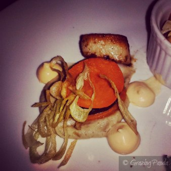 Pan seared scallops, smoked eggplant, butternut boudin noir sandwich, ricotta lemon curd, crisp leeks