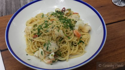 Sphaghetti, Prawns, Clams, Chilli and Black Bean Pangrattato