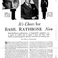 """It's Cheers for Basil Rathbone now"" - 1935"