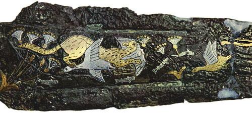 Inlaid Dagger, Mycenaean 1600BC , Mycenaean Cat History