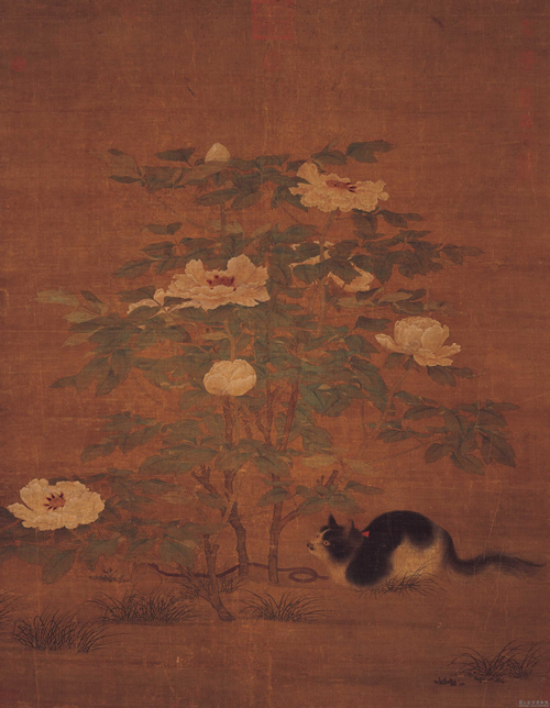 Calico Cat Under Noble Peonies, Sung Dynasty, cat in China
