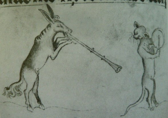Donkey Playing a Flute and a Cat Playing a Tabor Queen Mary's Psalter