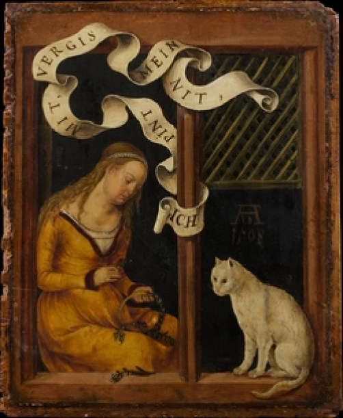 Girl Making a Garland Hans Suess Von Kulmbach 1480 Oil on wood Metropolitan Museum of Art, New York, history of the cat