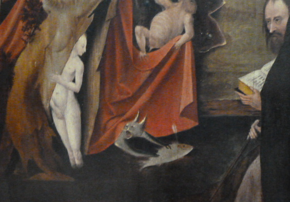 The Temptation of St. Anthony-Detail of Cat Hieronymus Bosch 1500, cat in early modern period art