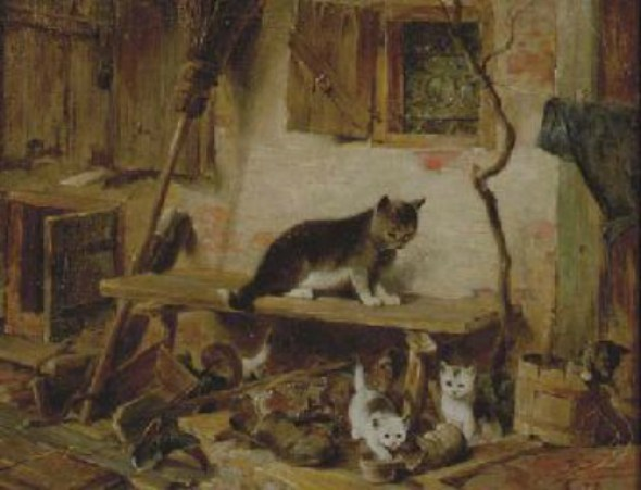Cat and Kittens at Play Julius Adam II Private Collection