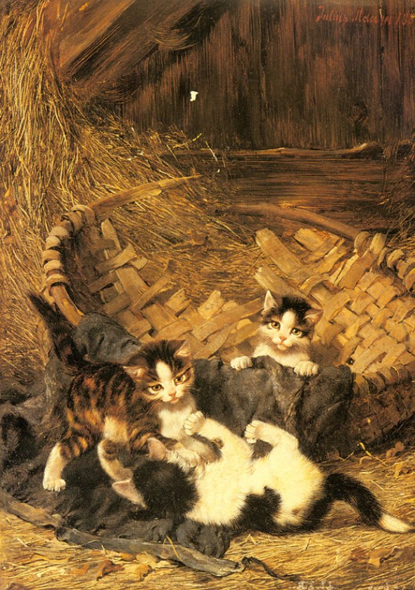 Kittens Playing in Basket Julius Adam Private Collection