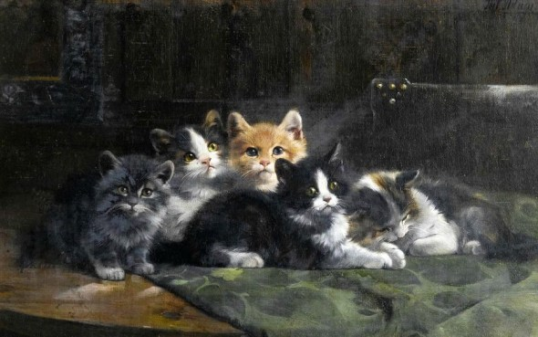 Five Kittens Julius Adam II Private collection