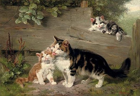 Motherly Affection Julius Adam II Oil on Canvas 28.9 X 41.2 cms Private Collection