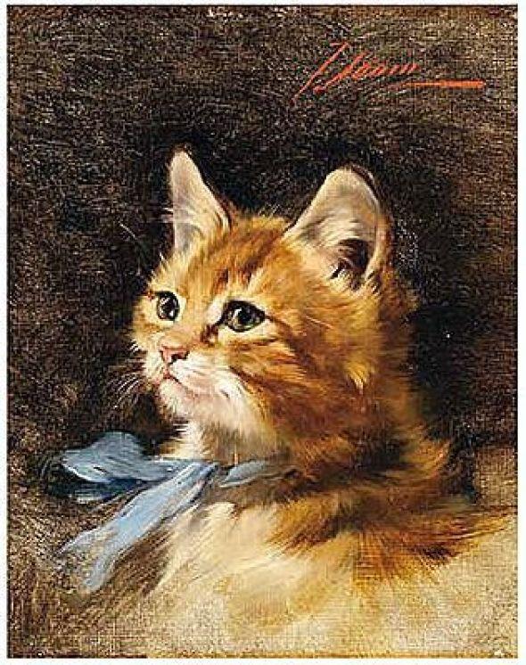 Sitzendes Kätzchen mit blauer Schleife um den Hals Julius Adam II Private Collection