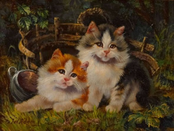 Two Kittens Julius Adam II Private Collection