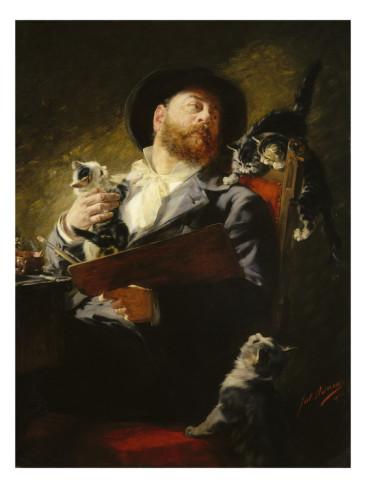 Entre Nous (Selbstbildnis mit Katzen) Julius Adam 1911 cats in art