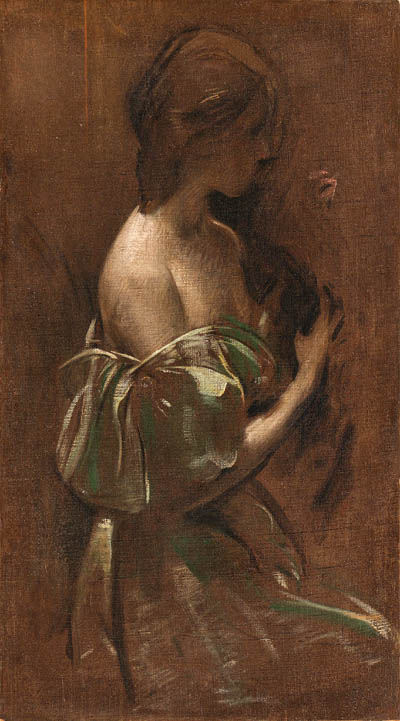 John White Alexander (1856-1915) Portrait of a woman in an off-the-shoulder gown with cat oil on canvas