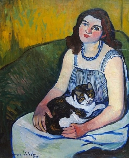 Jeune Fille au Chat Suzanne Valadon Oil on Canvas 1919 Private Collection