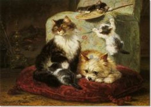 A Cat, Kittens and a Terrier Henriette Ronner-Knip Private Collection