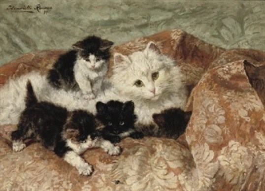 A Happy Family Henriette Ronner-Knip Private Collection