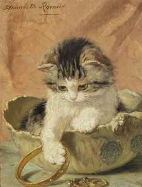 A Kitten Playing with Jewelry Henriette Ronner-Knip Private Collection