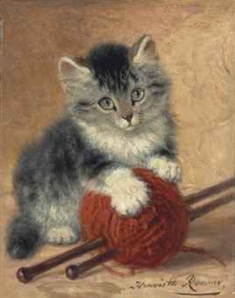 A Kitten with a Ball of Wool Henriette Ronner-Knip Oil on Panel Private Collection