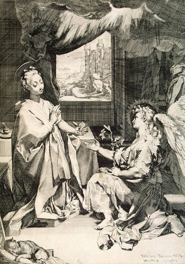 The Annunciation Frederico Barocci 1585 Etching, cat in Mannerist and religious paintings
