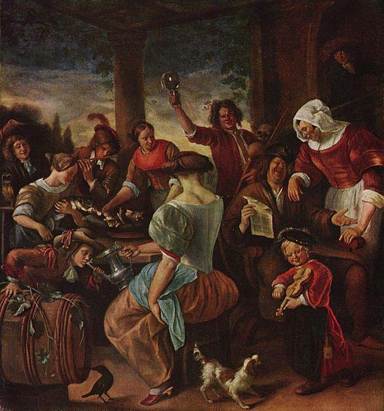 Katzen Familie Jan Steen (1629-1679) Magyar Szepmuveszeti Muzeum cats in art
