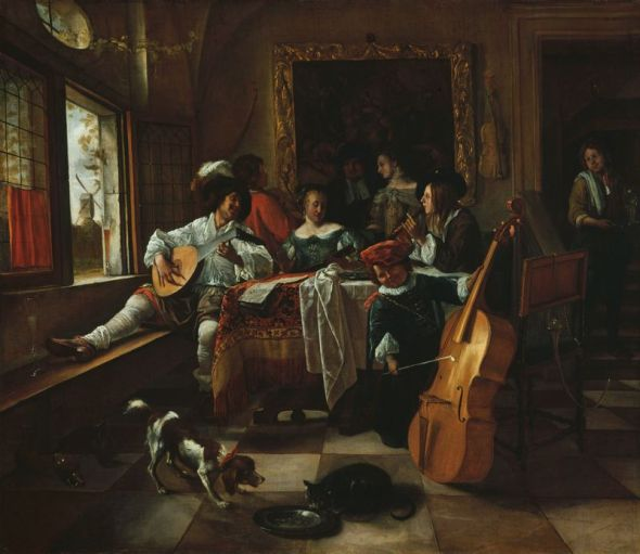 The Family Concert Jan Steen 1666, cats in art