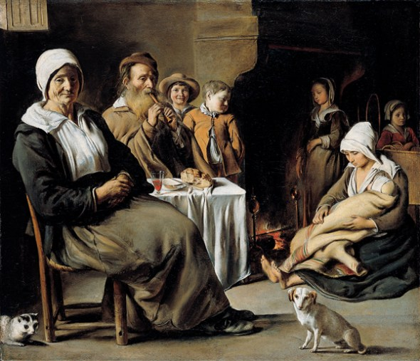 Peasant Interior with an Old Flute Player Louis Le Nain 1642 Kimbell Art Museum, cats in art