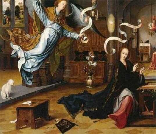 Cat in Annunciation Jan de Beer 1520 Museo Thyssen-Bornemisza, Madrid