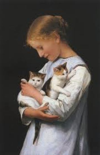 Girl Holding Two Cats Albert Anker Private Collection