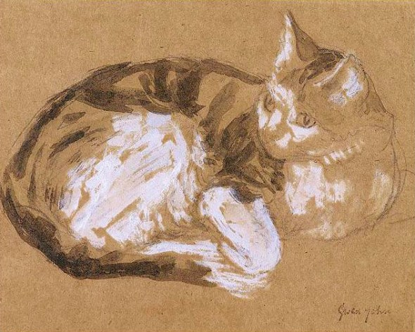 Tabby Cat Curled Up and Looking Attentively Gwen John 1905-08